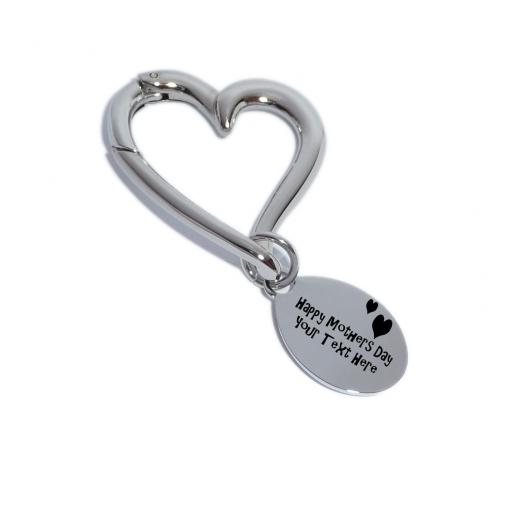 Personalised Heart Keyring - Happy Mothers Day with Hearts Design-Free Engraving