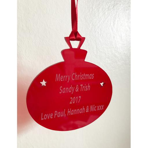 Red Acrylic Hanging Bauble - Christmas Tree / Home Decor- Free Personalisation