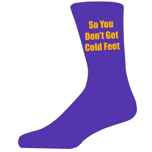 Purple Wedding Socks with Yellow So You Don't Get Cold Feet Title Adult size UK 6-12 Euro 39-49