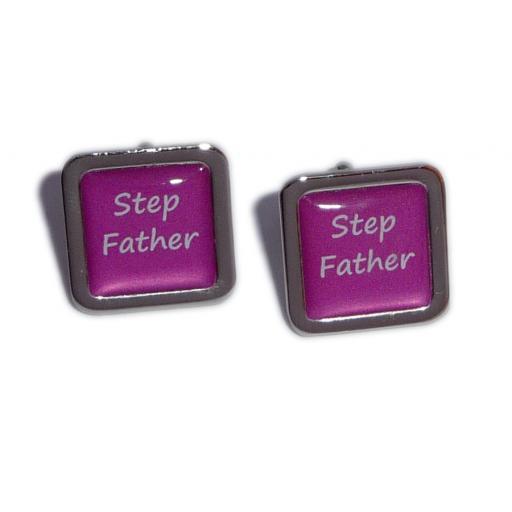 Stepfather Hot Pink Square Wedding Cufflinks