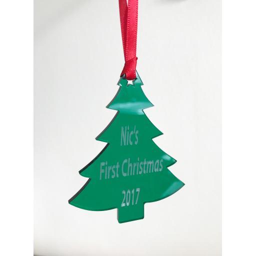 Green Acrylic Hanging tree - Christmas Tree / Home Decor- Free Personalisation