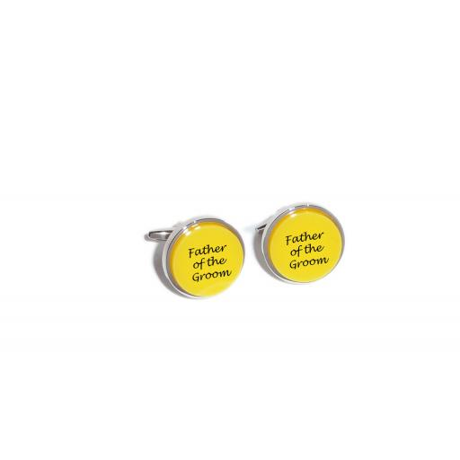 Father of the Groom Yellow Acrylic Insert Laser Engraved Cufflinks for the Wedding Party. Goom, Best Man, Father of The Bride. All cufflinks come with an organza gift pouch.