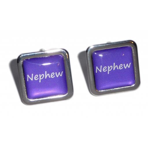 Nephew Purple Square Wedding Cufflinks