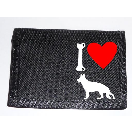 I Love Alsatian Dogs on a Black Nylon Wallet, Stunning Birthday, Fathers Day or Christmas Gift