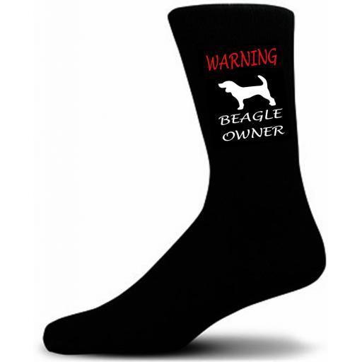Black Warning Beagle Owner Socks - I love my Dog Novelty Socks