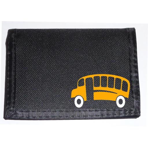 Yellow School Bus on a Black Nylon Wallet, Brilliant Birthday, Fathers Day or Christmas Gift