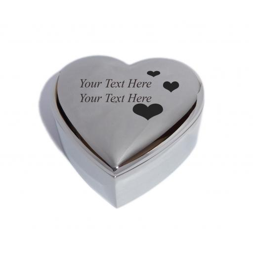 Personalised Heart Trinket Jewellery Box with Love Hearts