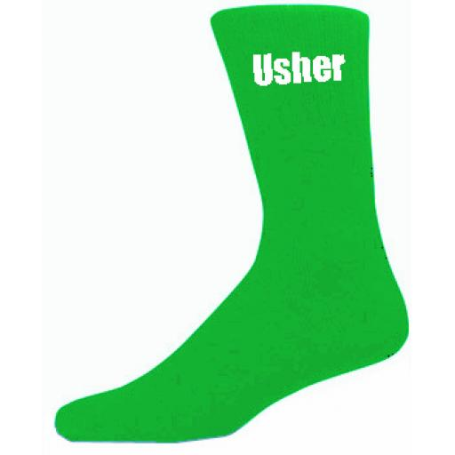 Green Mens Wedding Socks - High Quality Usher Green Socks (Adult 6-12)