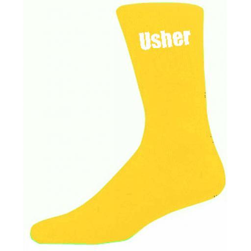 Yellow Mens Wedding Socks - High Quality Usher Yellow Socks (Adult 6-12)