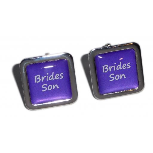Brides Son Purple Square Wedding Cufflinks