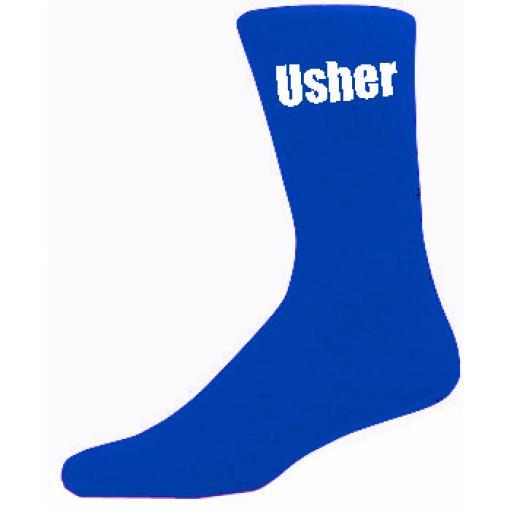 Blue Mens Wedding Socks - High Quality Usher Blue Socks (Adult 6-12)