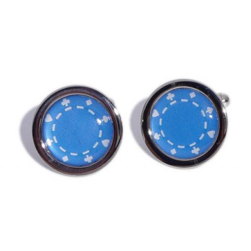 Blue Poker Chip cufflinks