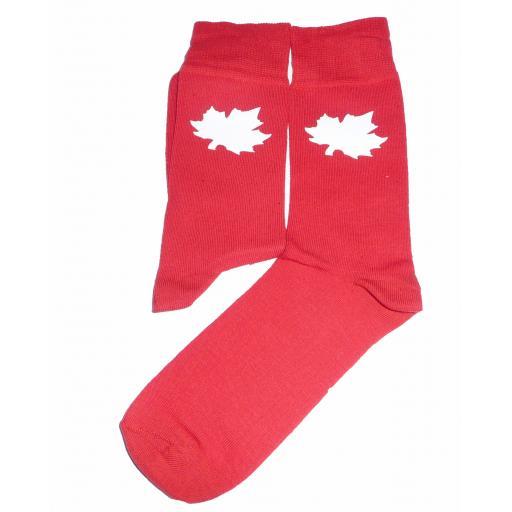 White Maple Leaf on Red Socks, Great Novelty Gift Socks Luxury Cotton Novelty Socks Adult size UK 6-12 Euro 39-49