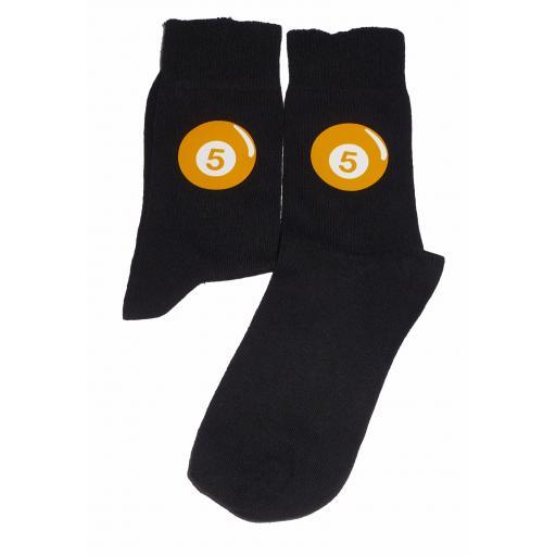 Yellow Pool Ball with white No 5 Socks Great Novelty Gift Socks Luxury Cotton Novelty Socks Adult size UK 6-12 Euro 39-49
