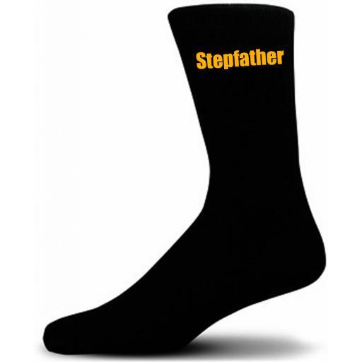 Black Wedding Socks with Yellow Stepfather Title Adult size UK 6-12 Euro 39-49