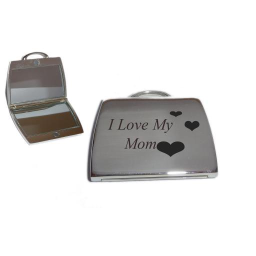 I Love My Mom Handbag Mirror with Love Hearts design