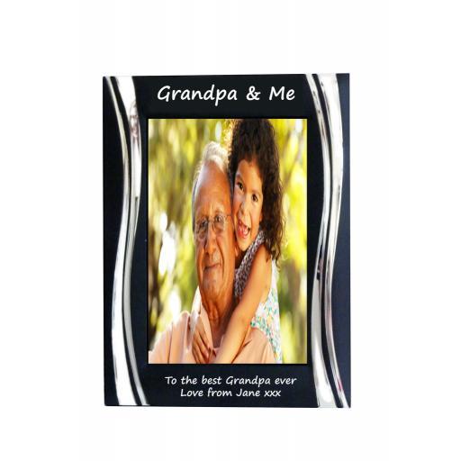 Grandpa & Me Black Metal 4 x 6 Frame - Personalise this frame - Free Engraving