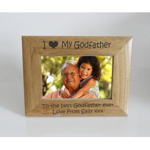 Godfather Photo Frame 6 x 4 - I heart-Love My Godfather 6 x 4 Photo Frame - Free Engraving
