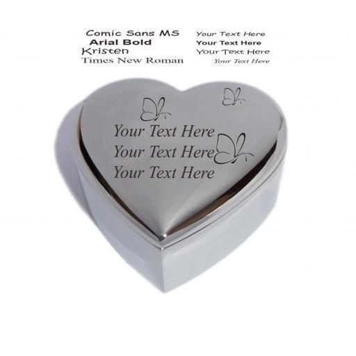 Personalised Heart Trinket Jewellery Box with Butterflies