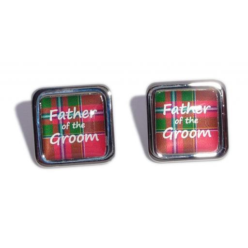 Father of the Groom Red Tartan Square Wedding Cufflinks
