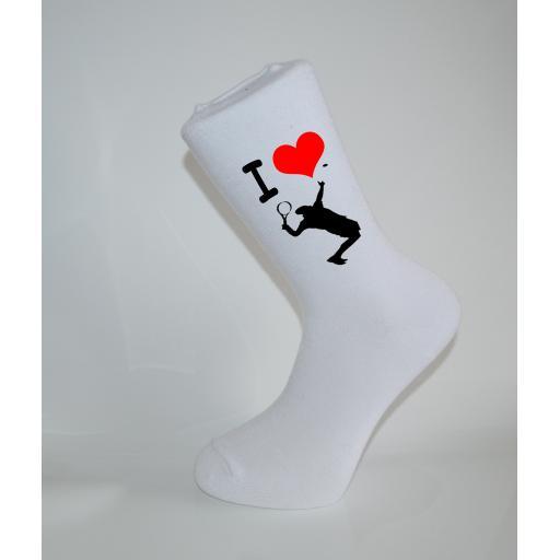 I Love Table Tennis White Socks, Great Socks for the sportsman, Adults 6-12