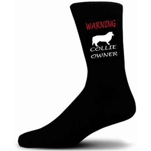 Black Warning Collie Owner Socks - I love my Dog Novelty Socks