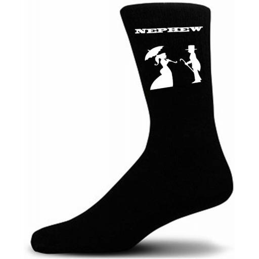 Victorian Bride And Groom Figure Black Wedding Socks - Nephew (Small UK Childrens 9-12)