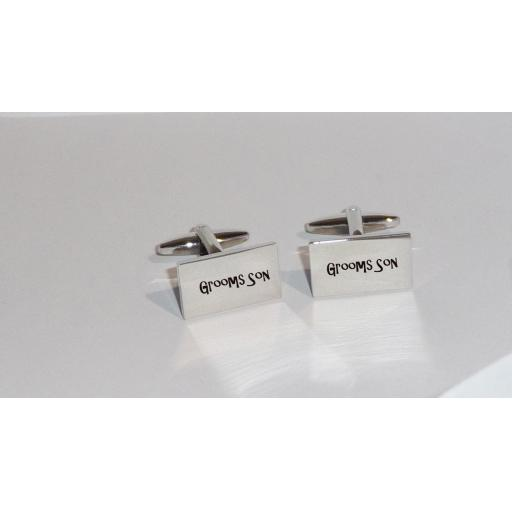 Grooms Son Rectangle Laser Engraved Cufflinks for the Wedding Party. Goom, Best Man, Father of The Bride. All cufflinks come with an organza gift pouch.