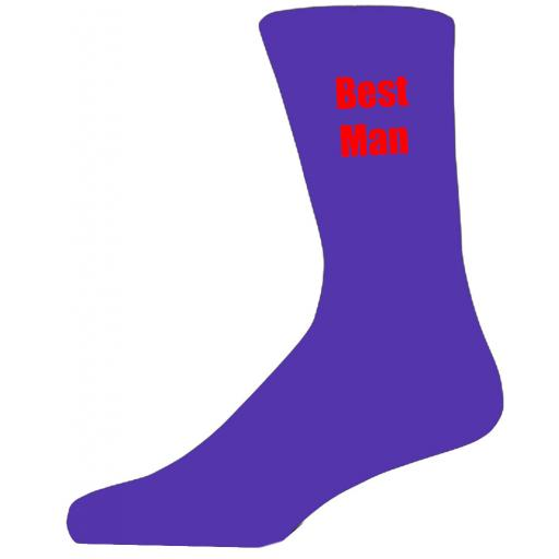 Purple Wedding Socks with Red Best Man Title Adult size UK 6-12 Euro 39-49
