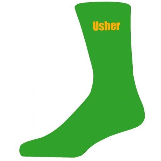 Green Wedding Socks with Yellow Usher Title Adult size UK 6-12 Euro 39-49