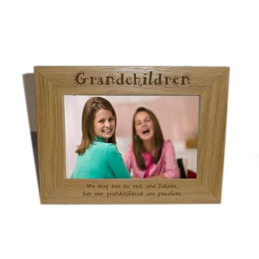 Grandchildren Wooden Photo frame 6 x 4 - Personalise this frame - Free Engraving - Please email glamgifts50@yahoo co uk