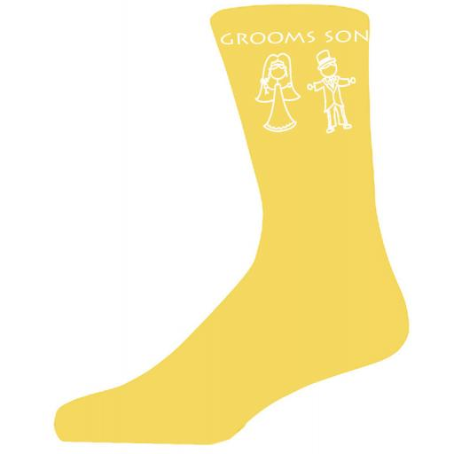 Yellow Bride & Groom Figure Wedding Socks - Grooms Son