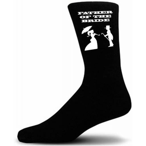 Victorian Bride And Groom Figure Black Wedding Socks - Father of the Bride