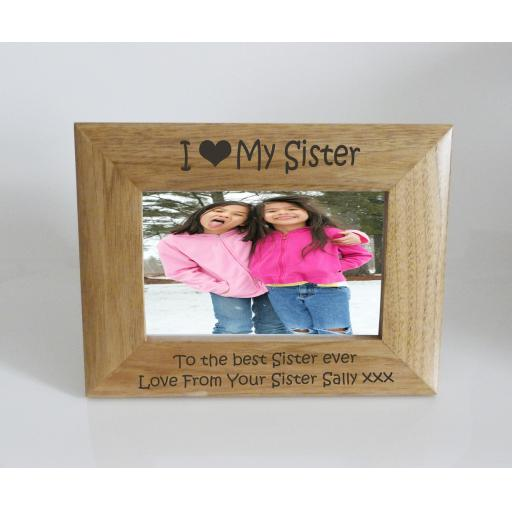 Sister Photo Frame 6 x 4 - I heart-Love My Sister 6 x 4 Photo Frame - Free Engraving