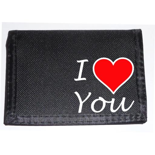 I Love You on a Black Nylon Wallet, Stunning Birthday, Fathers Day or Christmas Gift