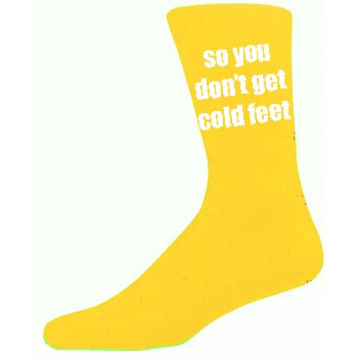 Yellow Mens Wedding Socks - High Quality So you Don't Get Cold Feet Cotton Rich Yellow Socks (Adult 6-12)