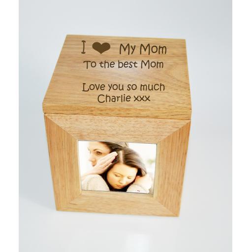 Personalised Oak Wooden Photo Box Keepsake Cube Box Engraved - I heart My Mom