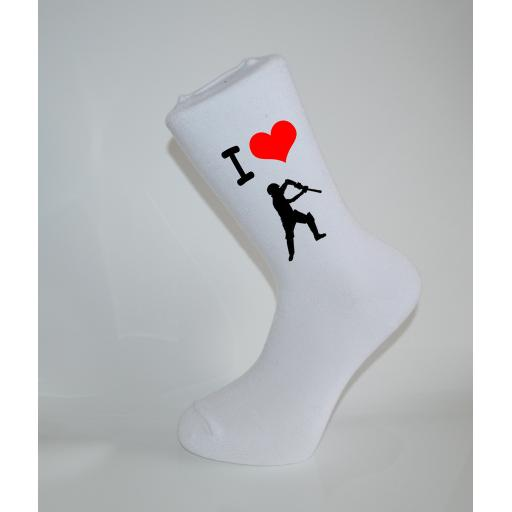 I Love Cricket White Socks, Great Socks for the sportsman, Adults 6-12