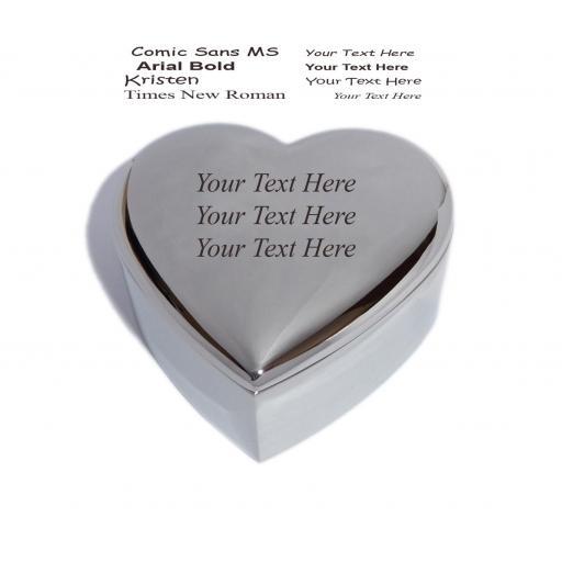 Personalised Heart Trinket Jewellery Box Engraved