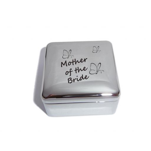 Mother of the Bride Square Trinket Jewellery Box with Butterfly Design