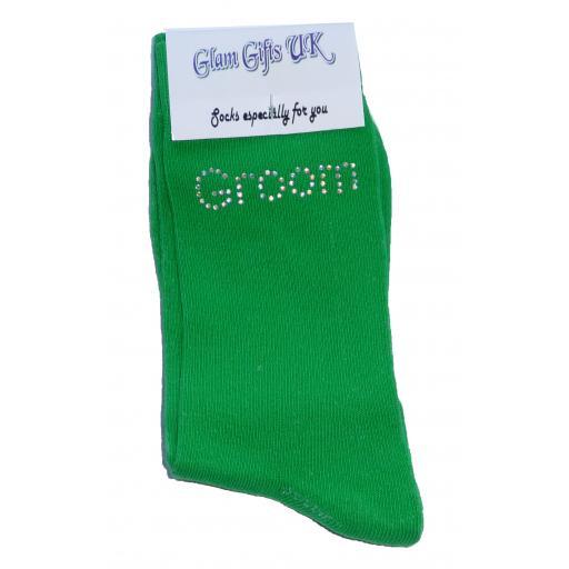 Green Wedding Socks - Groom In Clear Sparkely AB Crystals