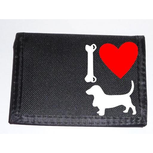 I Love Bassett Hound Dogs on a Black Nylon Wallet, Stunning Birthday, Fathers Day or Christmas Gift