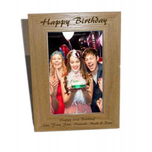 Happy Birthday Wooden Photo Frame 4x6 - Personalise This Frame - Free Engraving - Please email glamgifts50@yahoo co uk