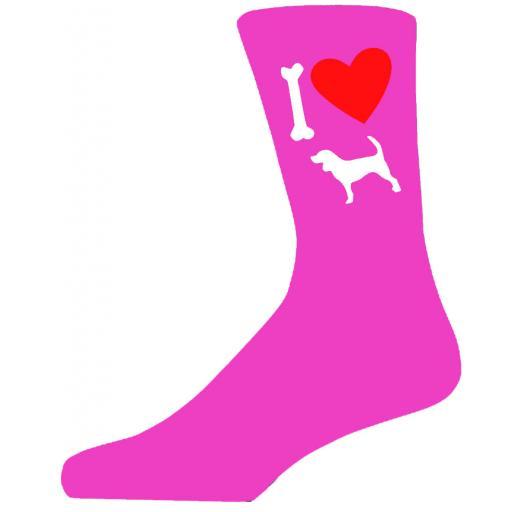 Hot Pink Ladies Novelty Beagle Socks- I Love My Dog Socks Luxury Cotton Novelty Socks Adult size UK 5-12 Euro 39-49