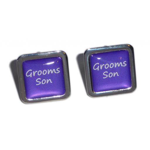 Grooms Son Purple Square Wedding Cufflinks