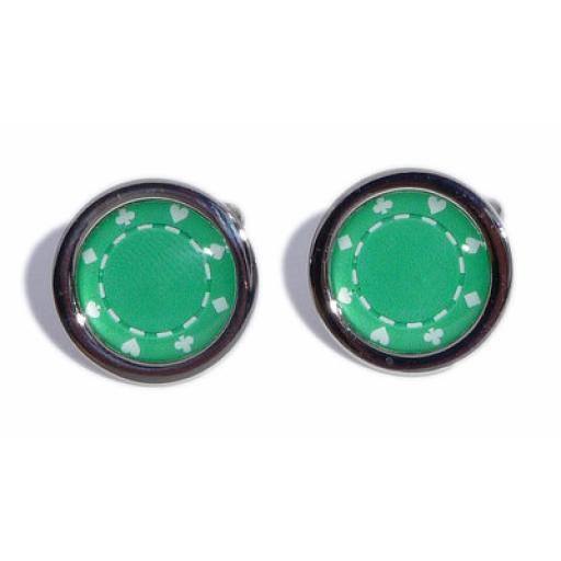 Green Poker Chip cufflinks