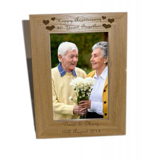 Happy Anniversary, 40 years Wooden Photo Frame 4x6 - Free Engraving - Please email glamgifts50@yahoo co uk