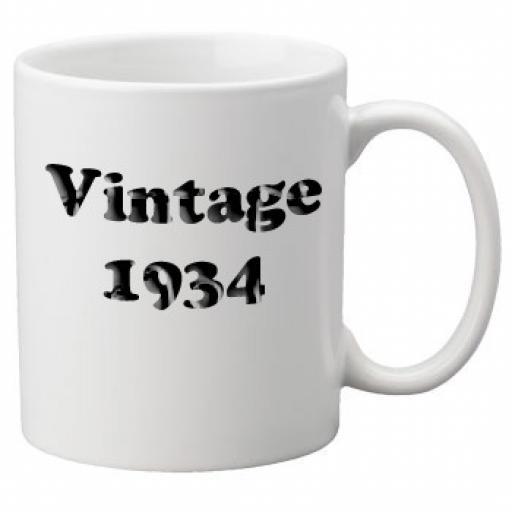 Vintage 1934 - 11oz Mug, Great Novelty Mug, Celebrate Your 80th Birthday