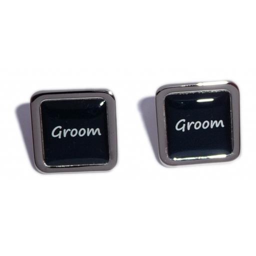 Groom Black Square Wedding Cufflinks