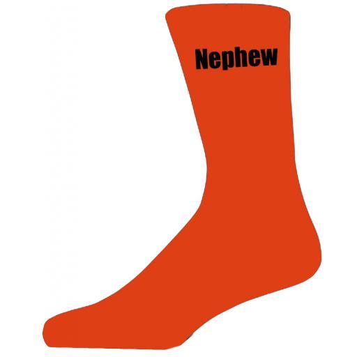 Orange Wedding Socks with Black Nephew Title Adult size UK 6-12 Euro 39-49